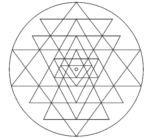shri yantra black and white